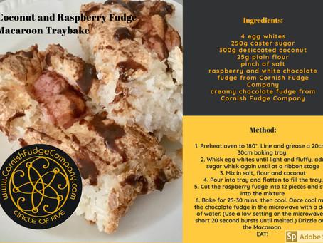 Coconut & Raspberry Fudge Macaroon Traybake