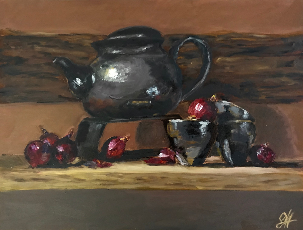 Teapot and Onions oil painting by Johanna Hattner