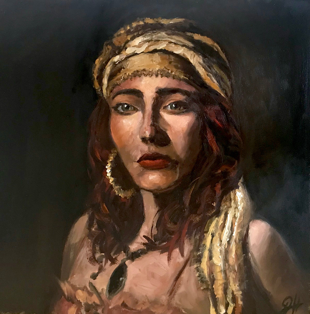"""Oil Painting """"woman with golden scarf"""" by Johanna Hattner"""
