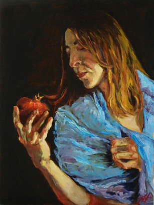 Self portrait with pomegranate