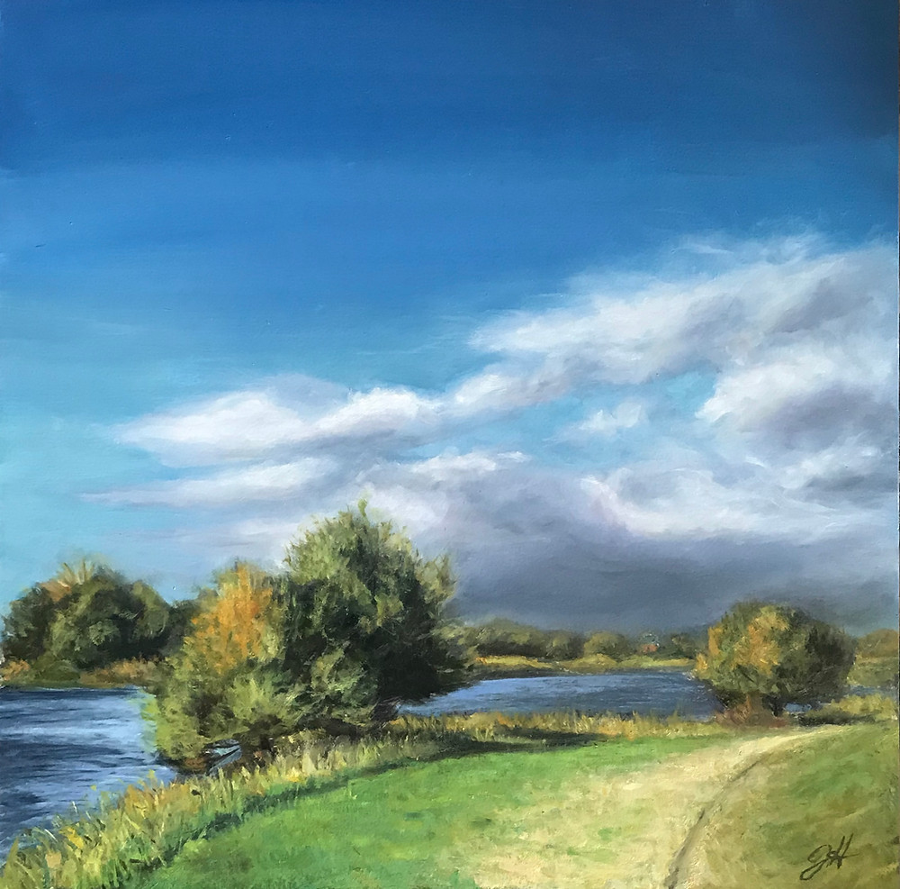 "Oil Painting ""River Turn"" (Hamburg, Elbe) by Johanna Hattner"