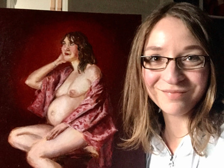 """Painting a """"double portrait"""" - my painting is pregnant!"""