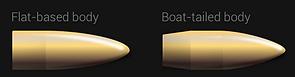 Flat-based bullet body vs Boat-tailed bullet body