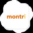 """Le logo de l'application - titre """"Montri"""" en organe et jaune - Fond blanc"""
