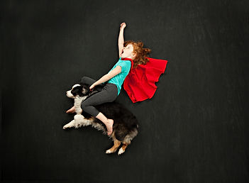 Super hero and her flying dog.jpg