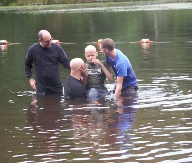 Being baptized at Gay City State Park