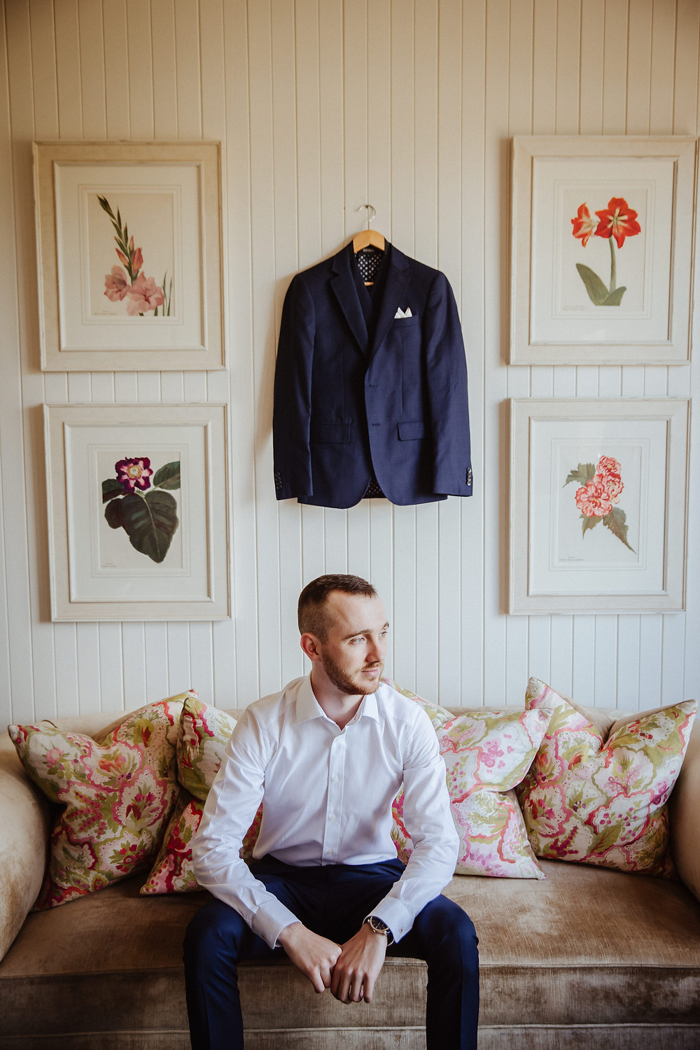 Portrait of the groom at Bendooley Estate
