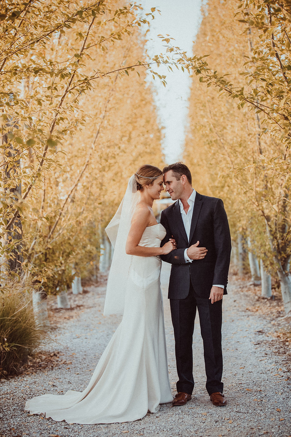 bride and groom at farm wedding venue the vinegrove mudgee