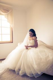 bride in vera wang wedding gown