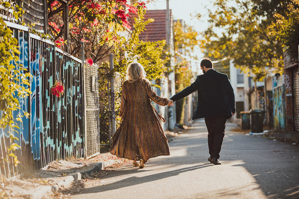 urban alleyway engagement portrait session