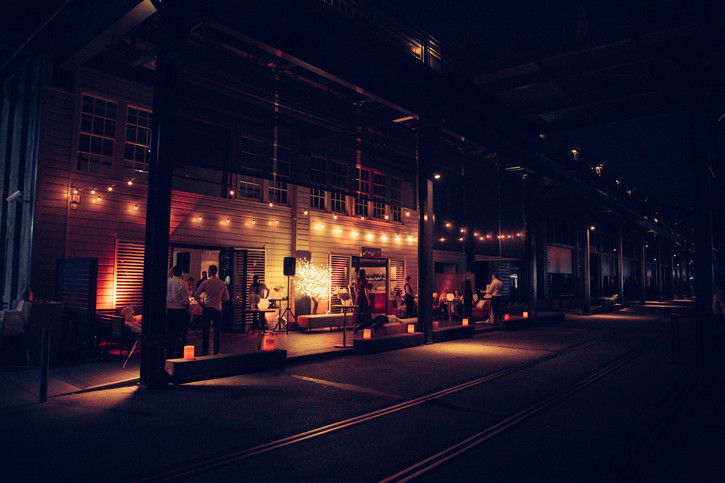 Cafe Morso at Jones Bay Wharf, Sydney at night