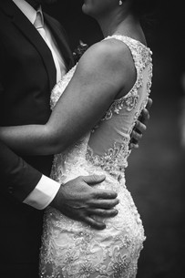 Stunning details on Madison James wedding gown photographed by de lumière photography