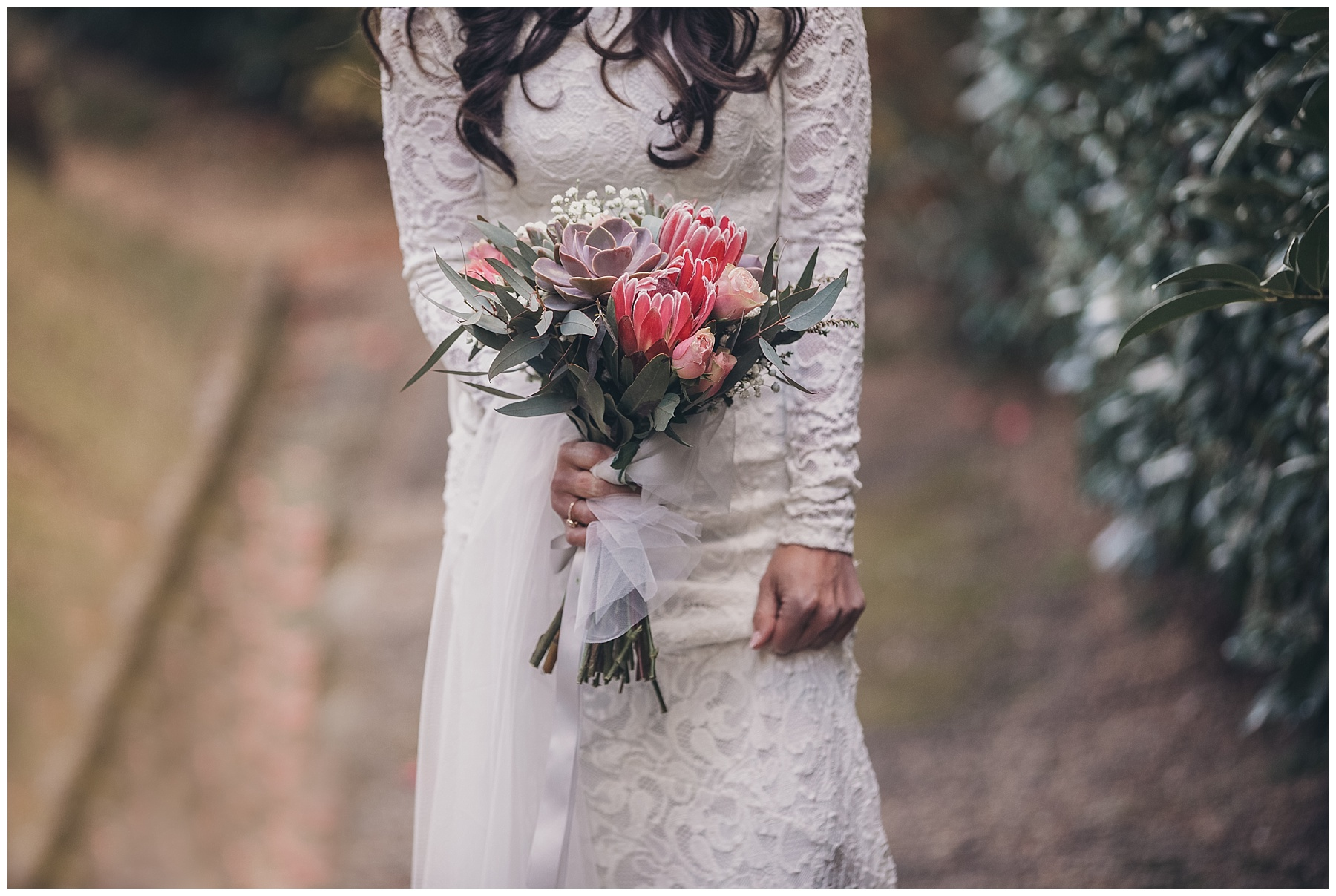 Bridal bouquet inspiration with succulents, australian natives, baby's breath and pink roses