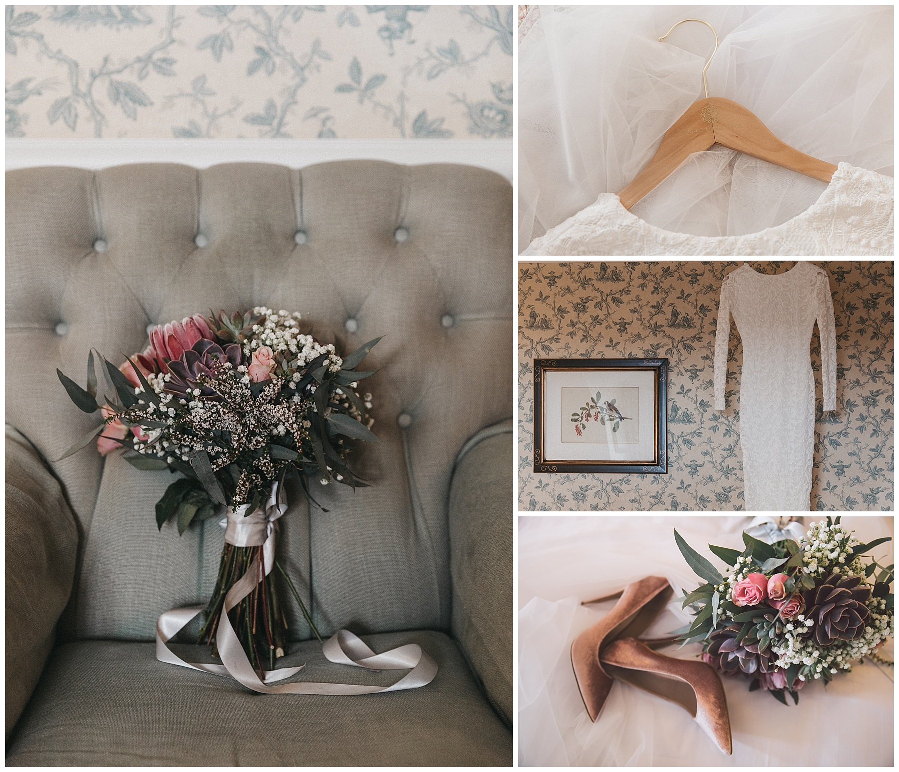 The bridal bouquet, Grace Loves Lace wedding dress and pink Siren wedding shoes