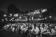 night time wedding outdoor location with fairy lights
