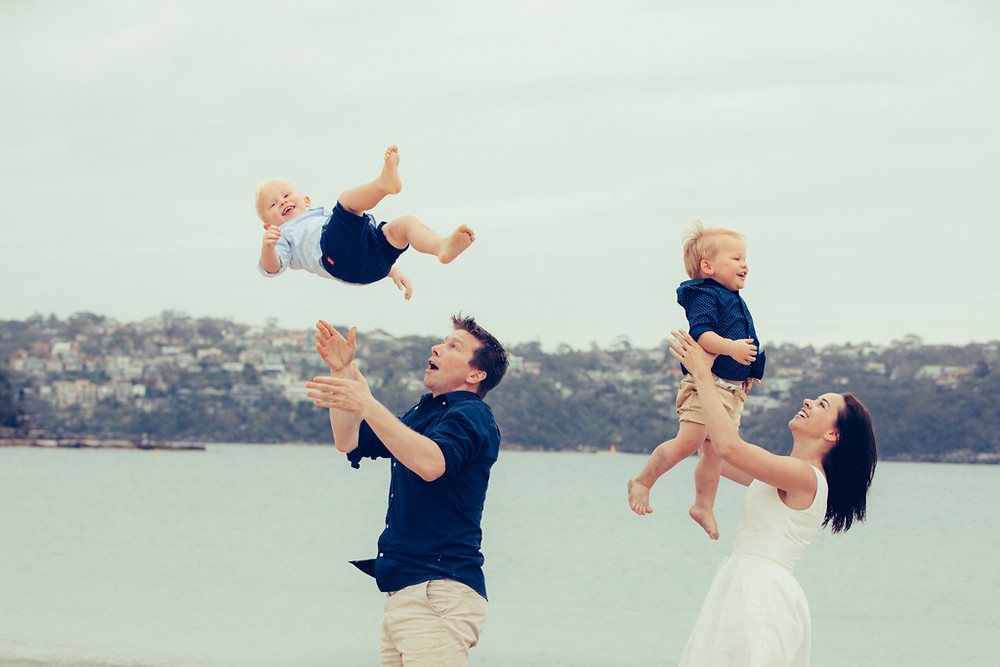 Father and mother with twins photographed by Sydney Family Photographer de lumiere photography