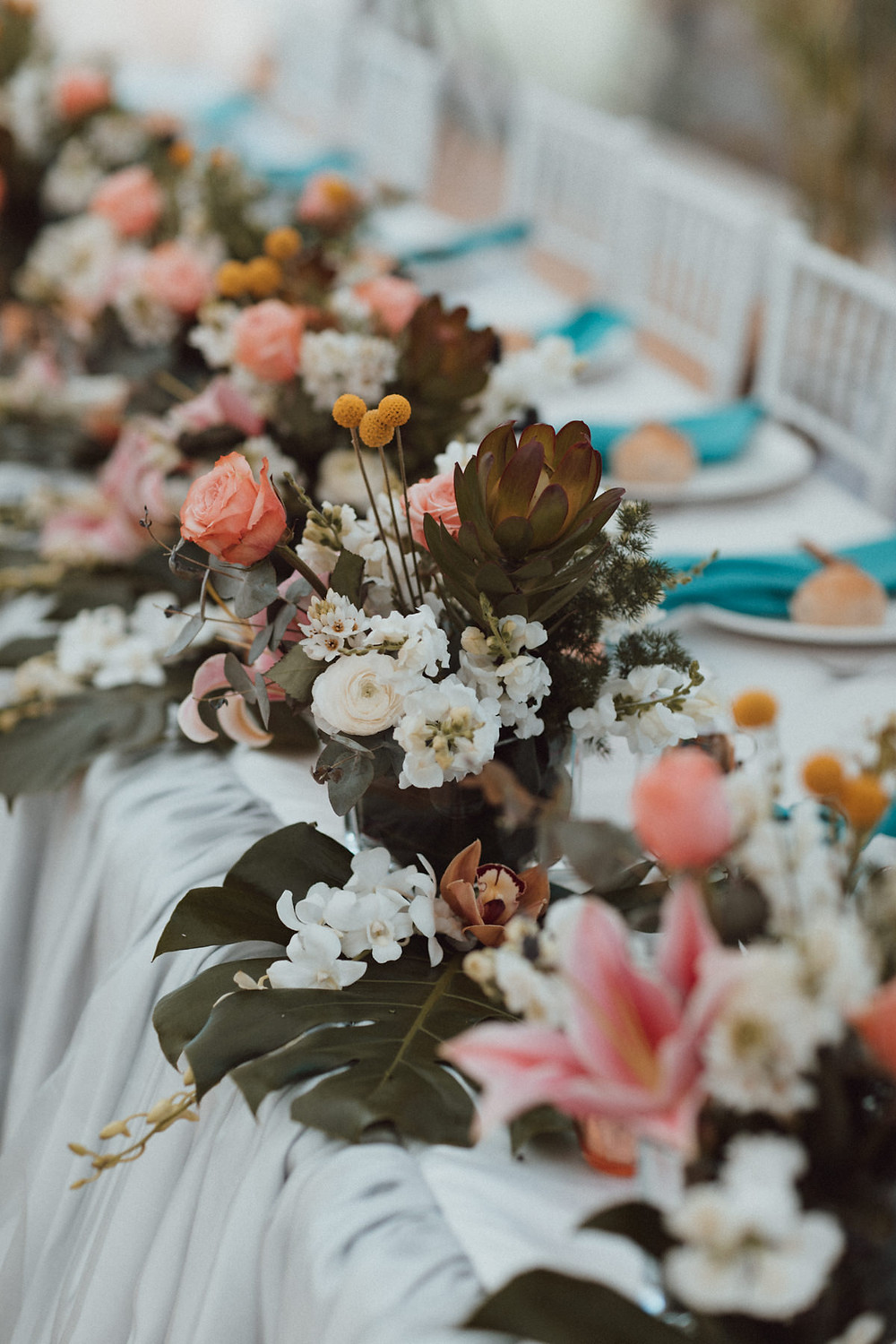 teal wedding styling