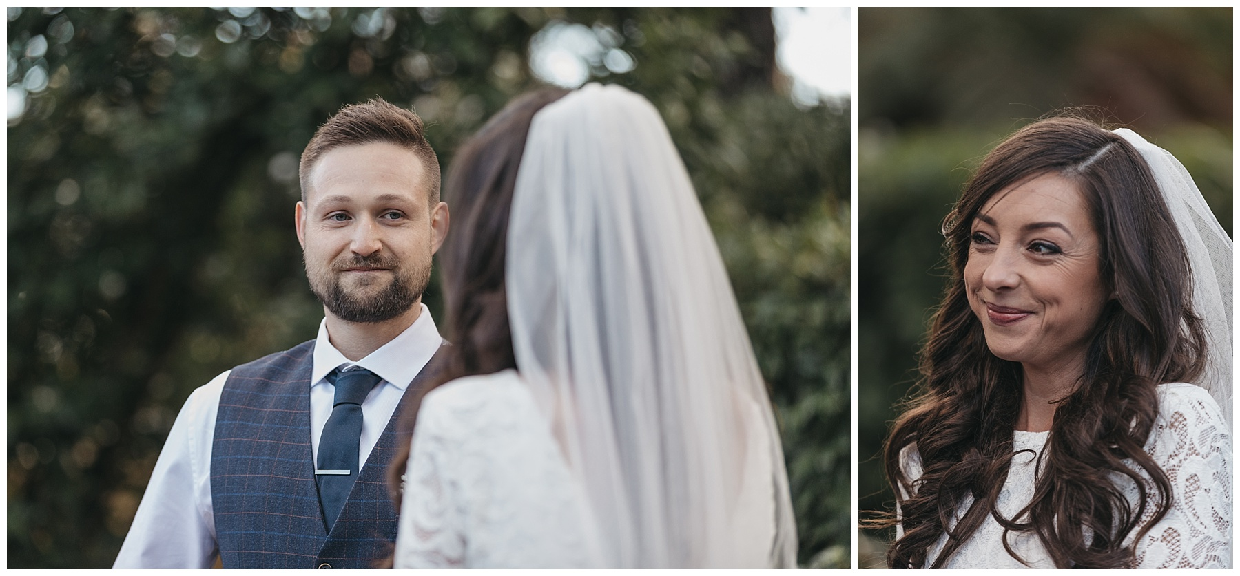 The bride and groom smiling at each other