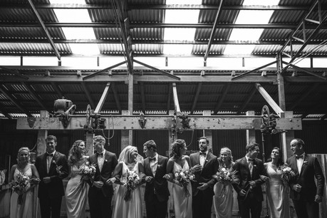 professional wedding photography shearing shed waldara farm bridal party