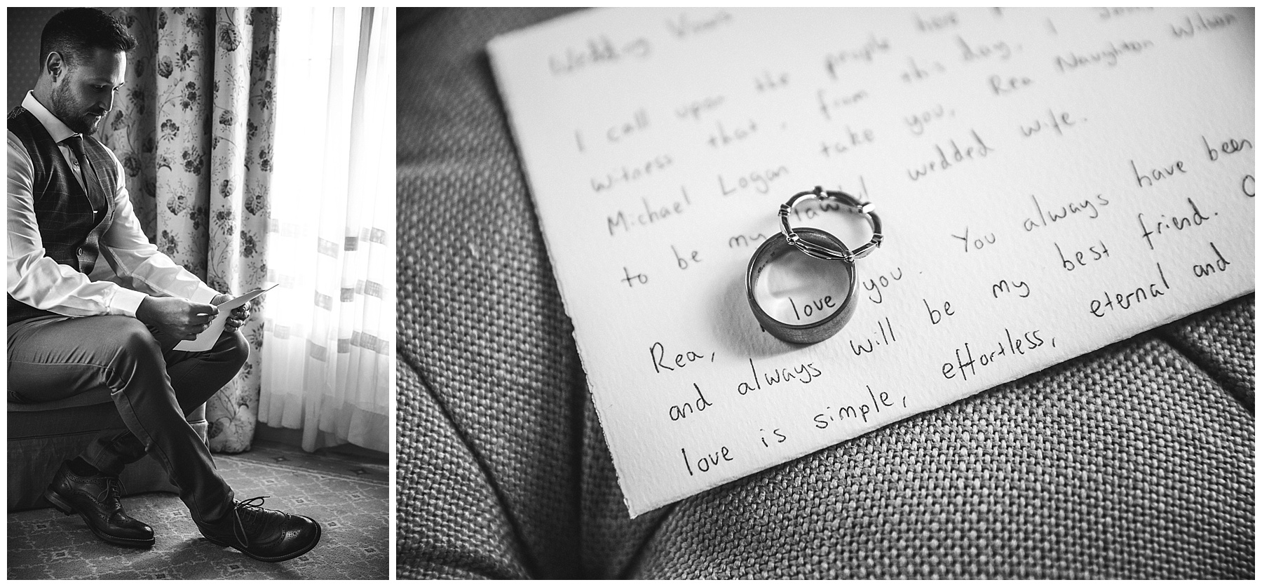 The groom reading his vows and wedding bands by House of K'Dor - de lumière photography