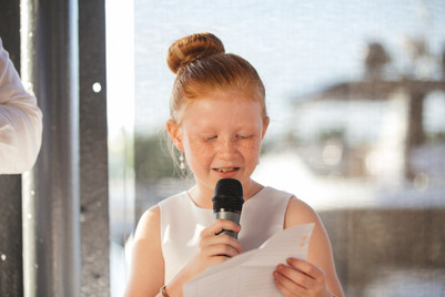 Flower girl makes a speech