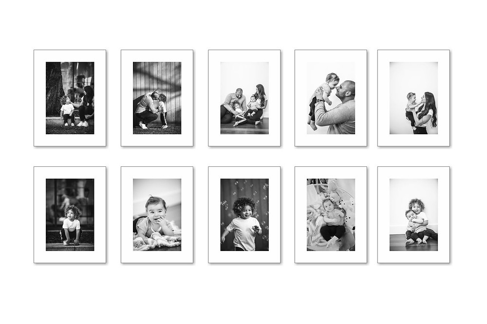 framed matted black and white prints
