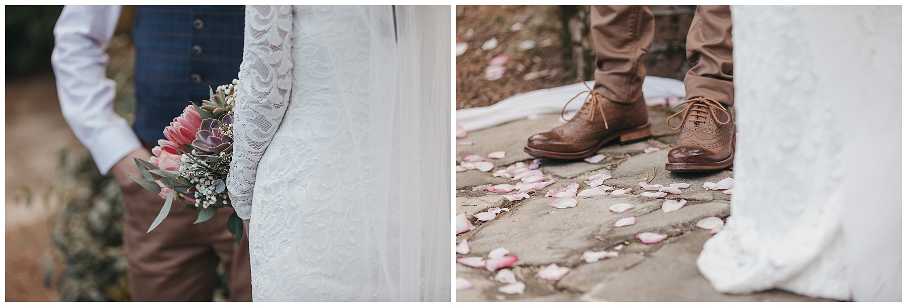 The groom wearing brown leather shoes and details of the brides wedding dress and veil