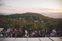 wedding guests at sunset blue mountains