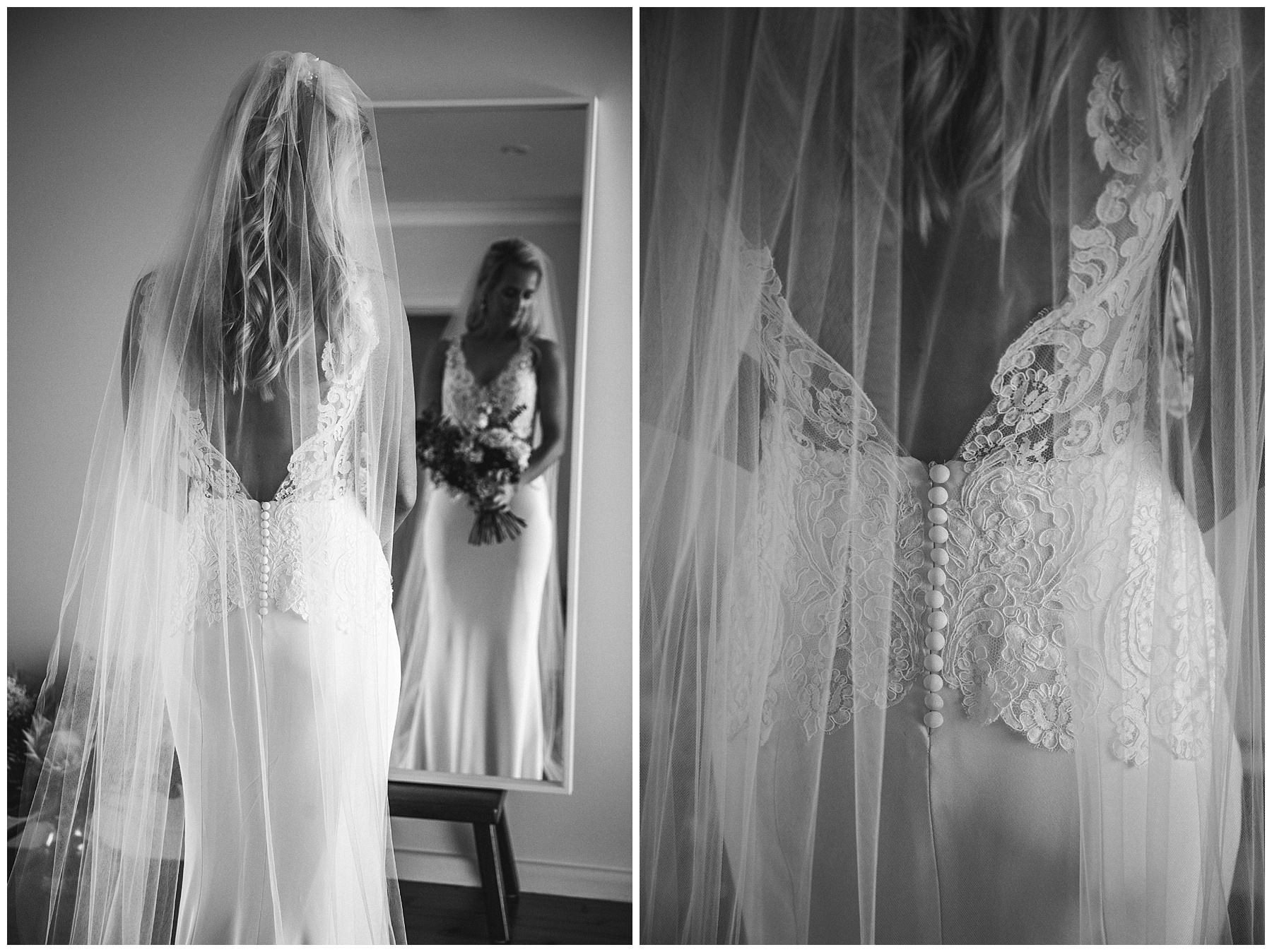 Veil hanging over bride's back