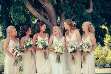 professional wedding photography country wedding bridal party laughing