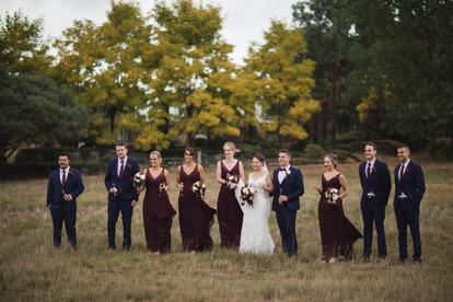 bridal part celebrates in paddock autumn colour country wedding de lumiere photography