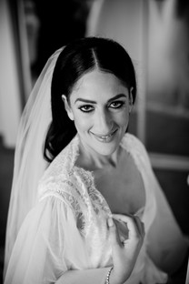 black and white portrait of bride in gown