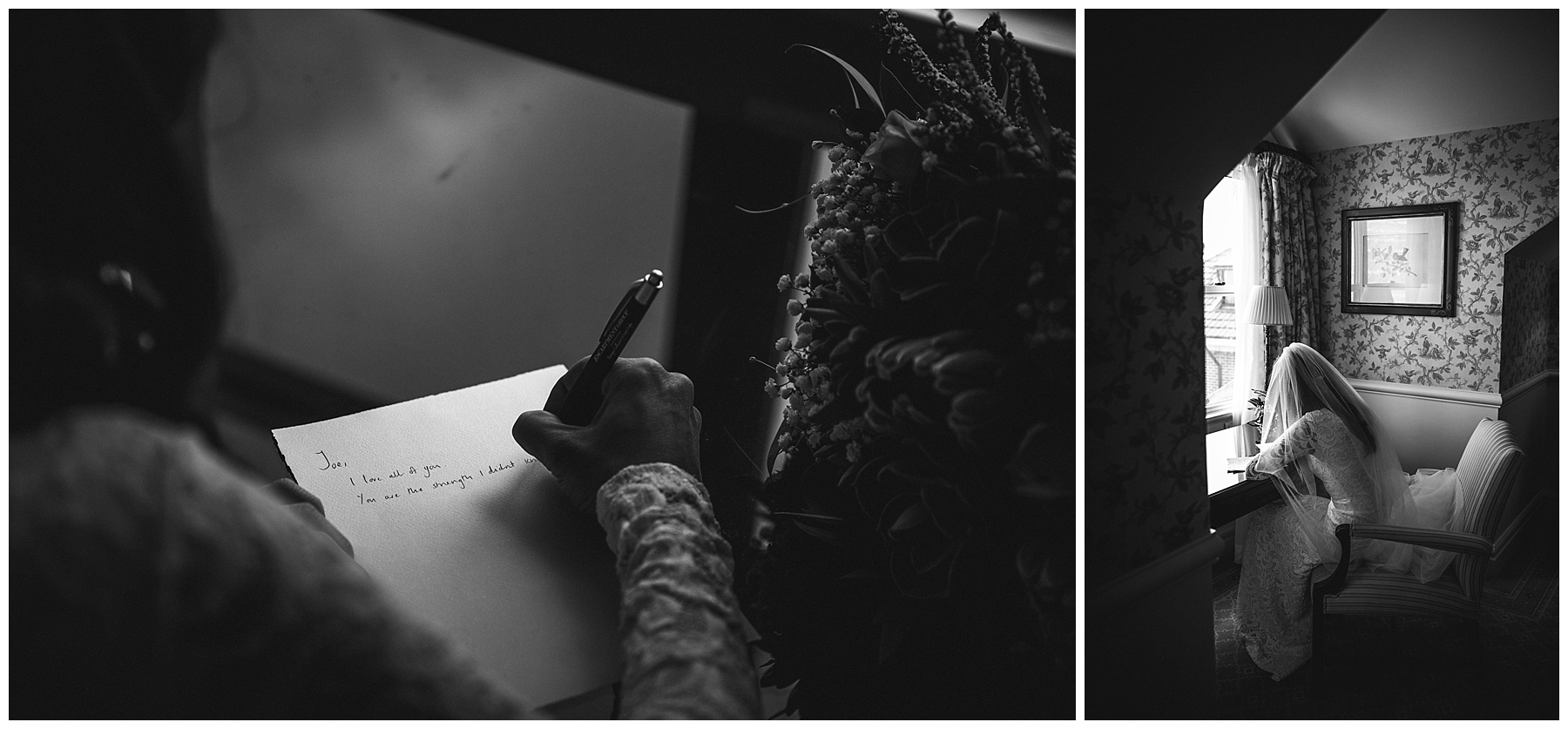 Black and white image of the bride writing her vows