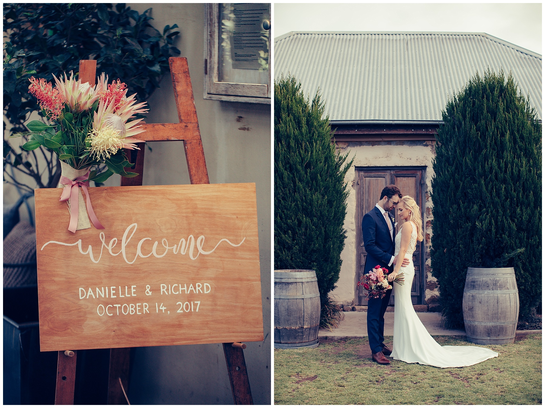 DIY wedding board and bride and groom at Cupitts Winery