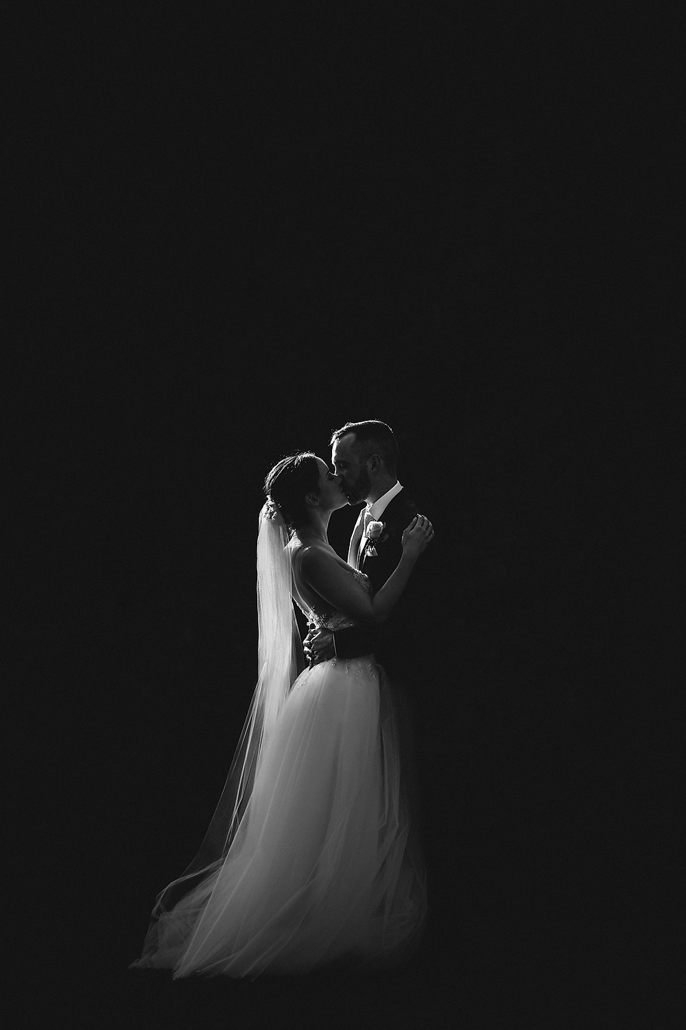 black and white image of bride and groom bendooley estate southern highlands wedding venue
