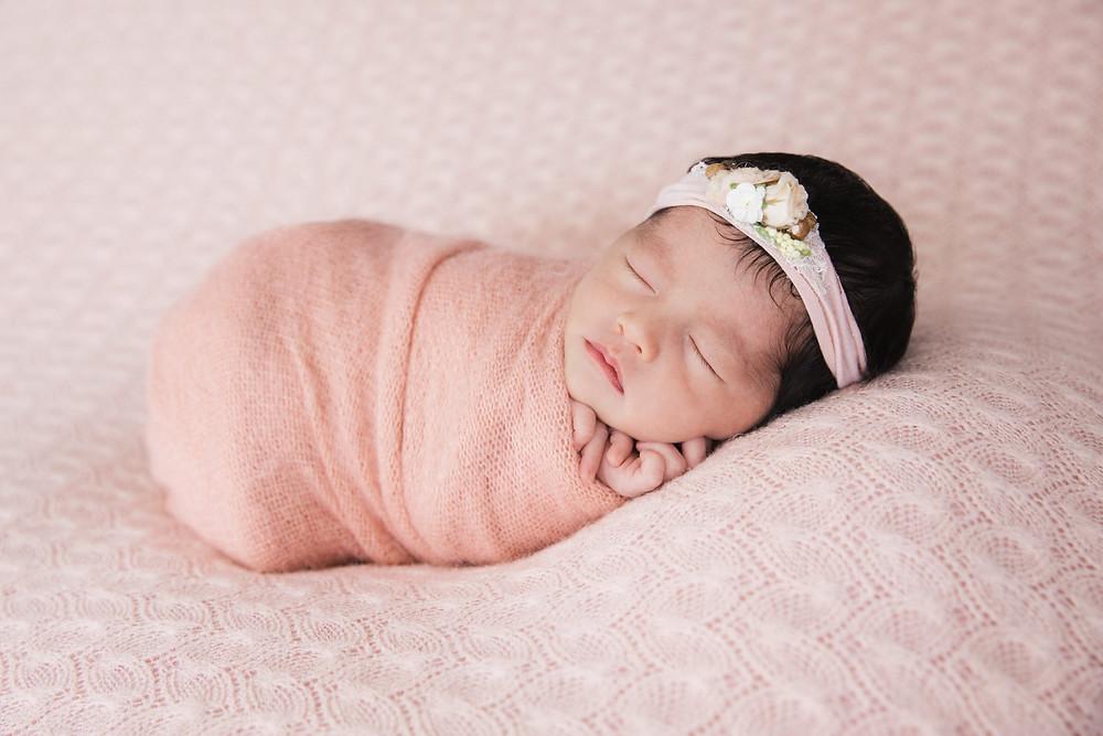 pink newborn portrait session sydney newborn photographer de lumiere photography