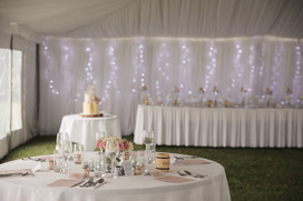 Wedding marquee styling with fairy lights - de lumière photography