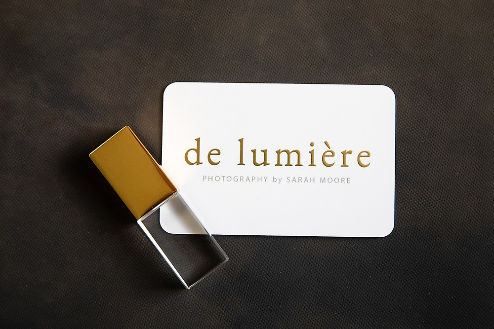 de lumière photography new branding with USB and business card