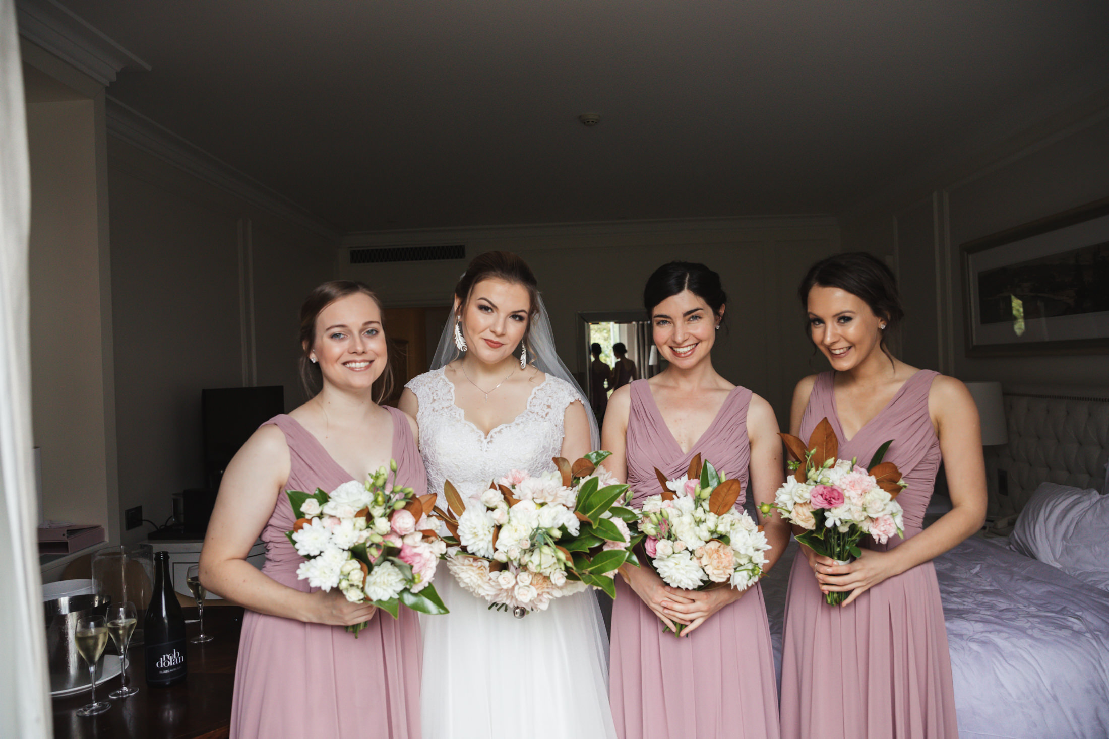 bride and bridemaids at the langham sydney wedding phtoographer