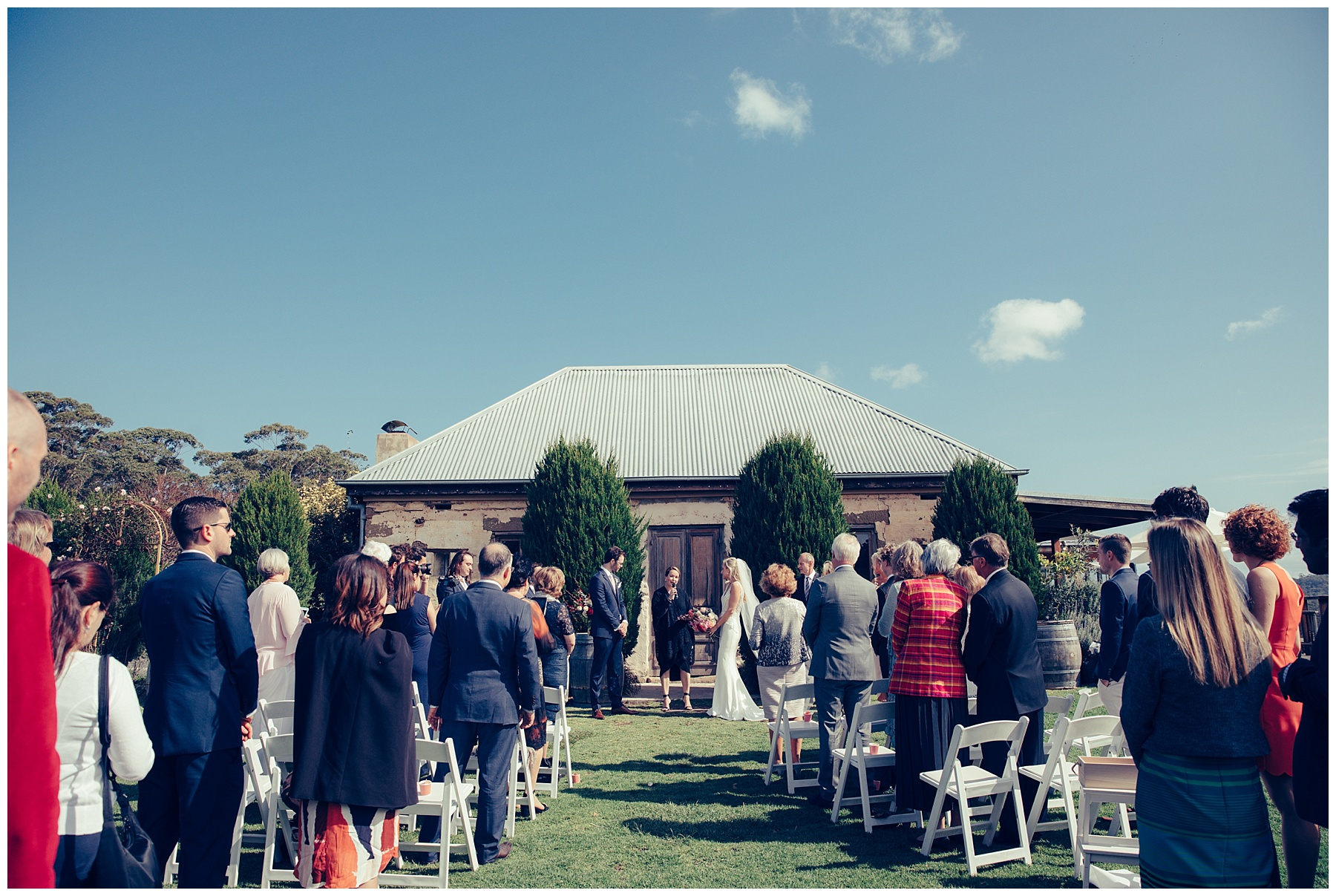 Wedding ceremony at Cuppit's Winery