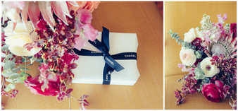 Chanel gift wrapped with Willow and Fleur bridal bouquet