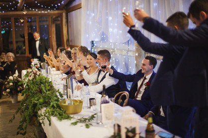 bridal party cheers country wedding de lumiere photography