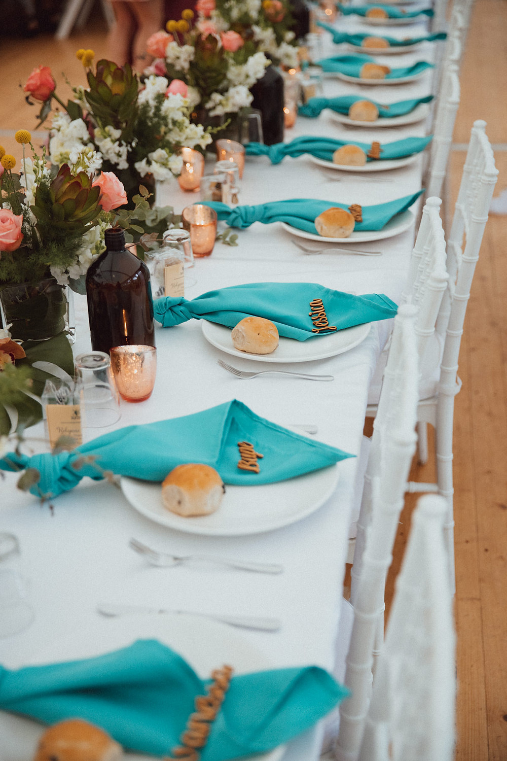 wedding styling with touches of teal