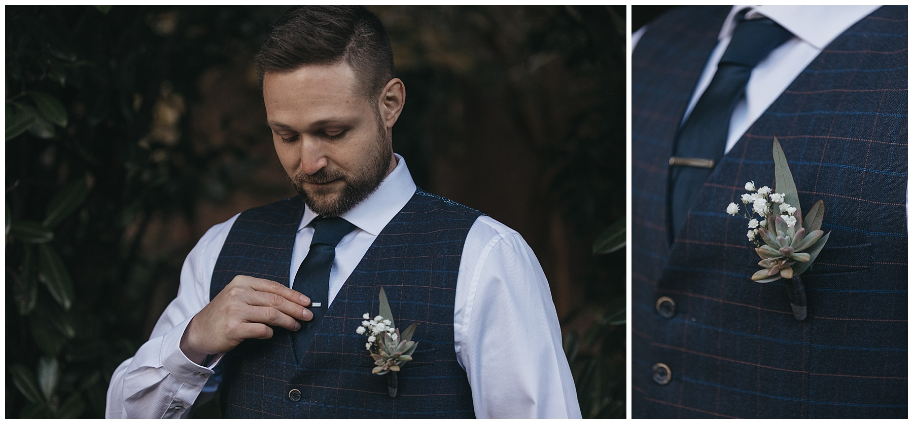 The groom's details - wearing a succulent buttonhole and navy pin stripe suit