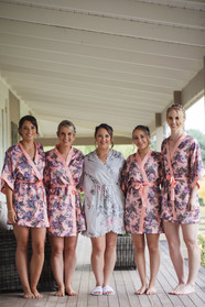 bride with bridesmaids in robes country wedding photographer