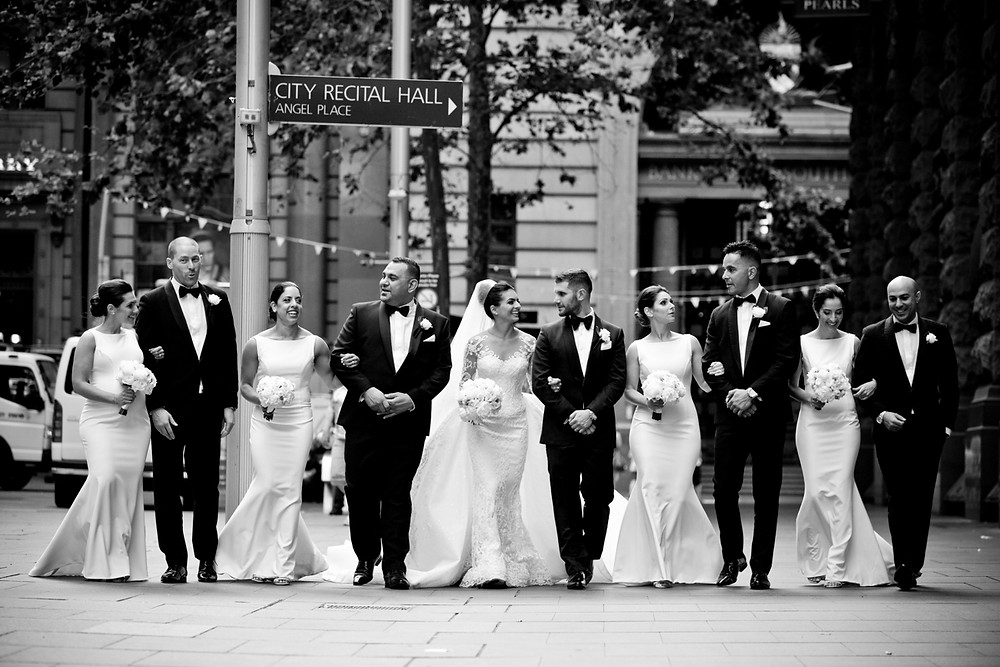 Luxury Armenian wedding with bridal party in Martin Place, Sydney photographed by de lumiere photography