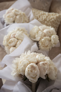white wedding bouquet with peonies