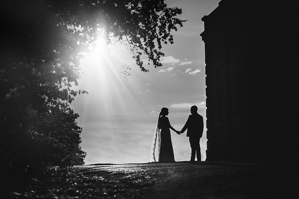 Black and White photo of bride and groom by Sydney Wedding Photographer de lumière photography