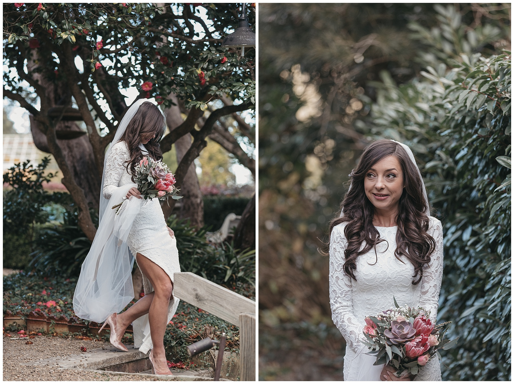 The bride in her Grace Loves Lace wedding gown
