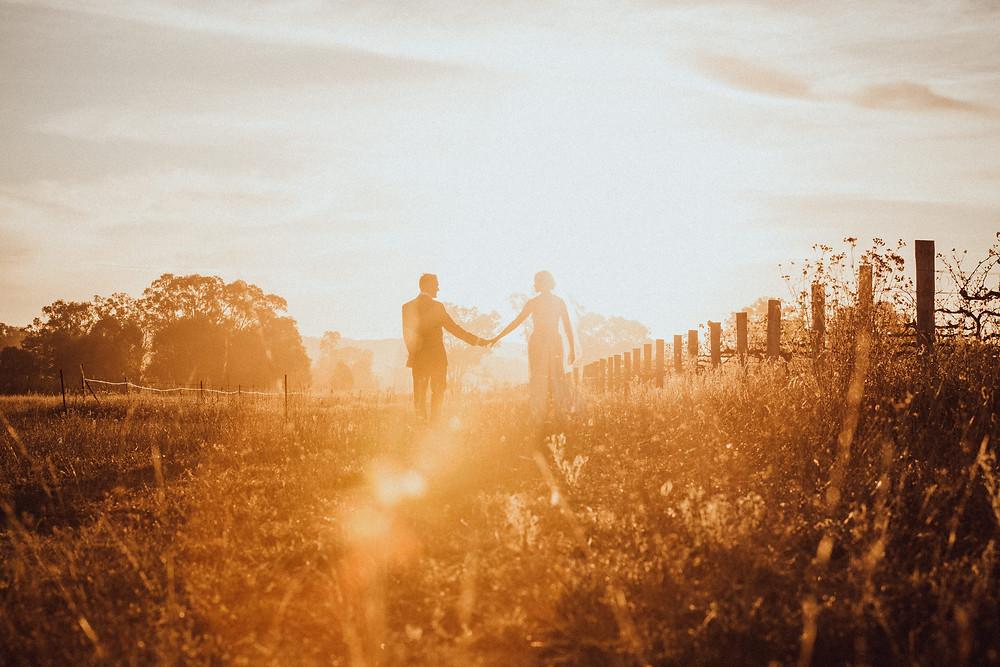 vineyard wedding at sunset